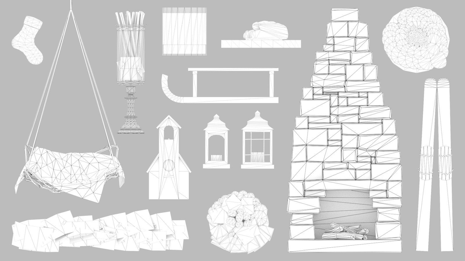 All 14 objects in wireframe