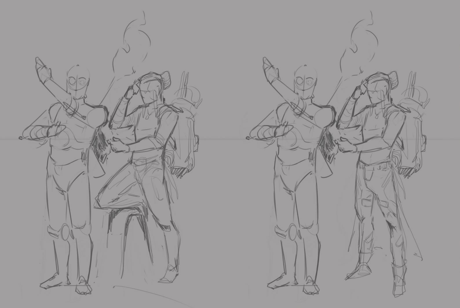 Early sketches (I was kinda rushed with the idea of him having a big backpack and be constantly fixing his bud)