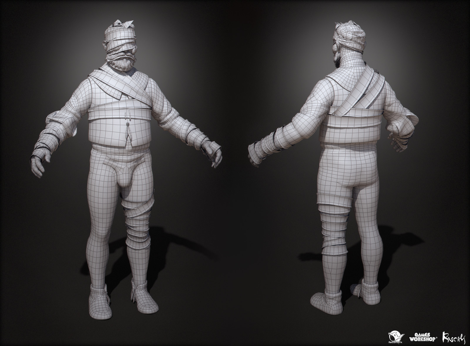 Prisoner is made of 19K polys, about a half of player characters' polybudget, and 4K PBR textures