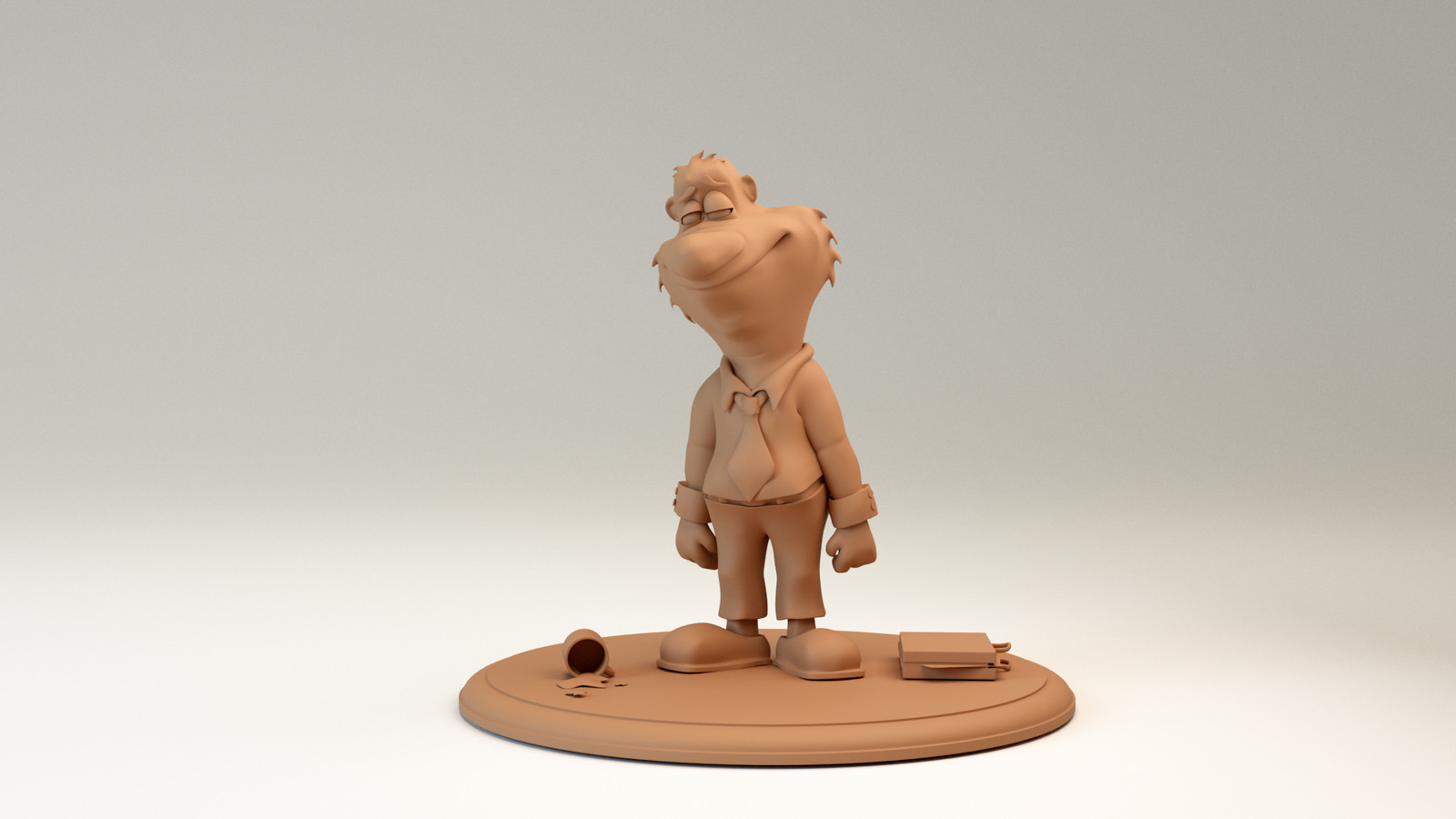 The Working Man, sculpey clay render, front