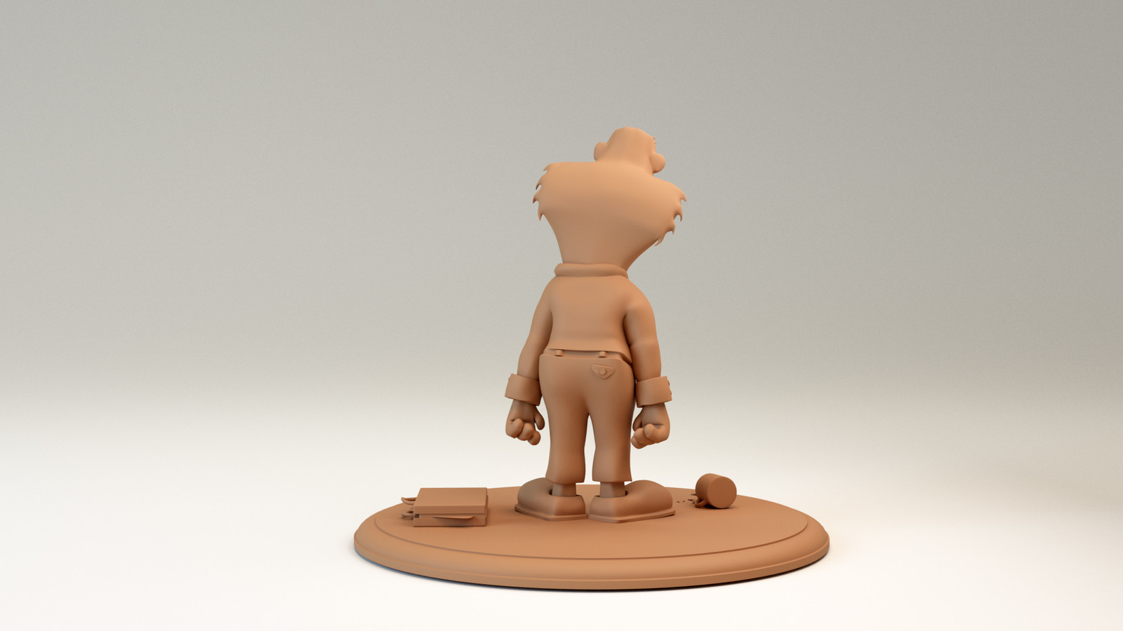 The Working Man, sculpey clay render, back