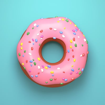 Tzuyu kao artstation tykcartoon delicious pink glazed donut with sprinkles on turquoise background 1206ss