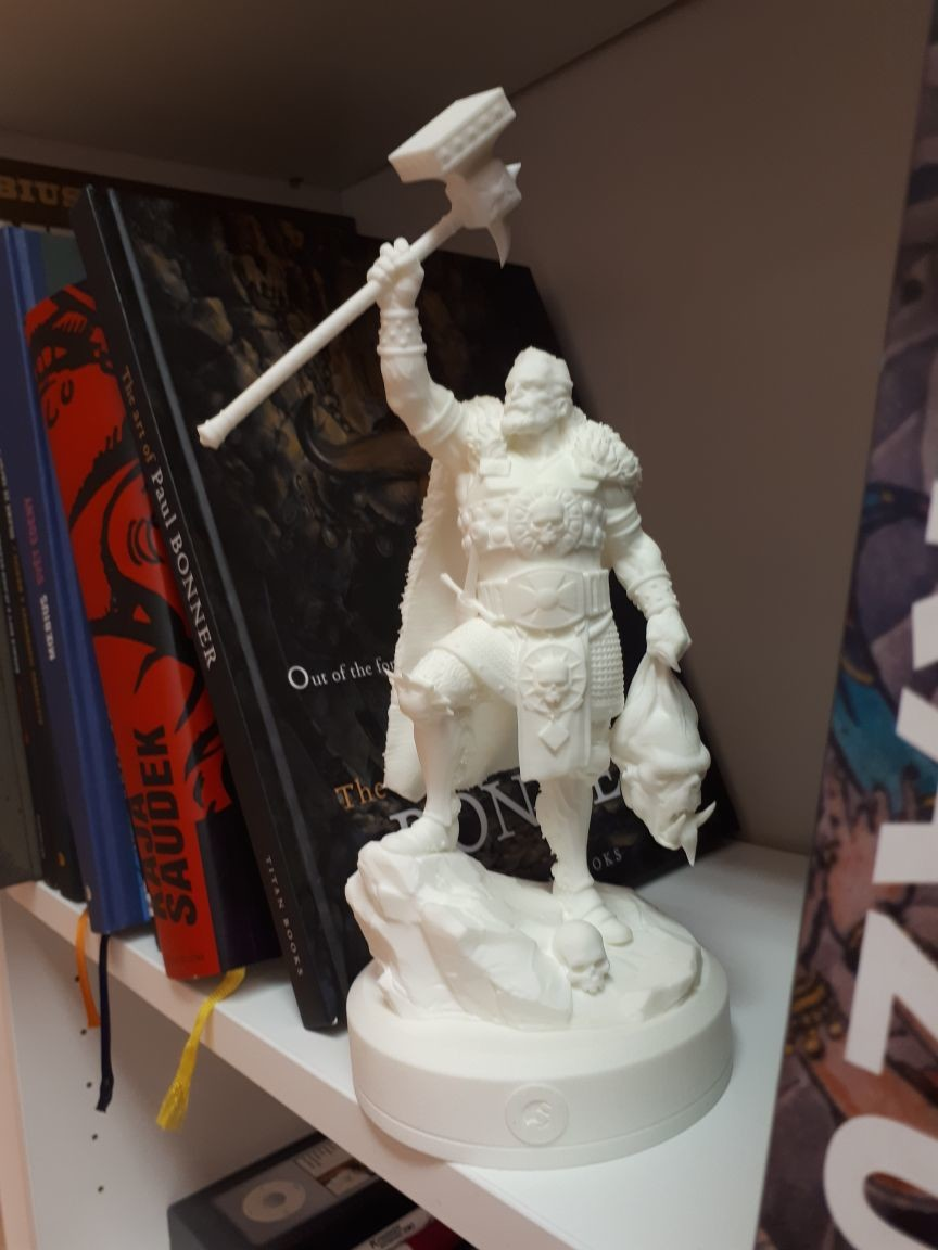 The statue was later set-up for 3d printing. A limited print of 4 pieces was distributed to game's developers.