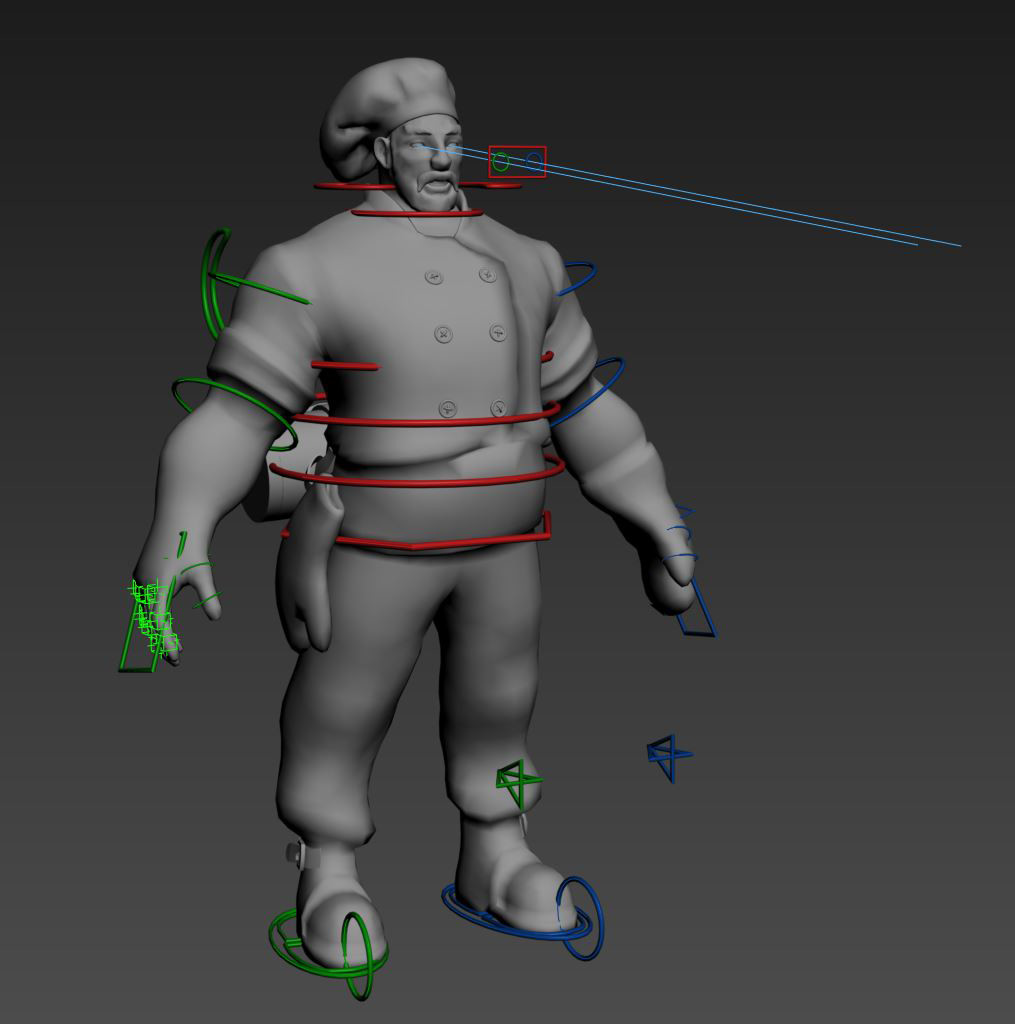 The custom Rig I created in  Max, equipped with face morphs and an IK FK switch in the arms. I learnt a lot during this process and feel more confident about the character pipeline as a whole with deeper knowledge of prepping characters for animation.