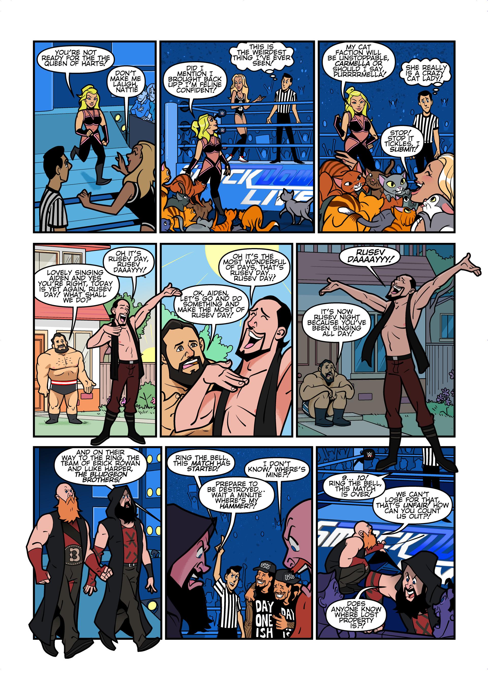 WWE Smackdown Live comic strips for WWE Kids Magazine #133