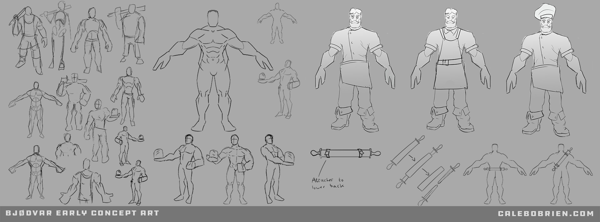 At this stage I found it useful to rough out lots of sketches in order to settle on the general direction of the design. I have since found that sketching a larger number of broad smaller thumbnails is a great starting point for designing characters.