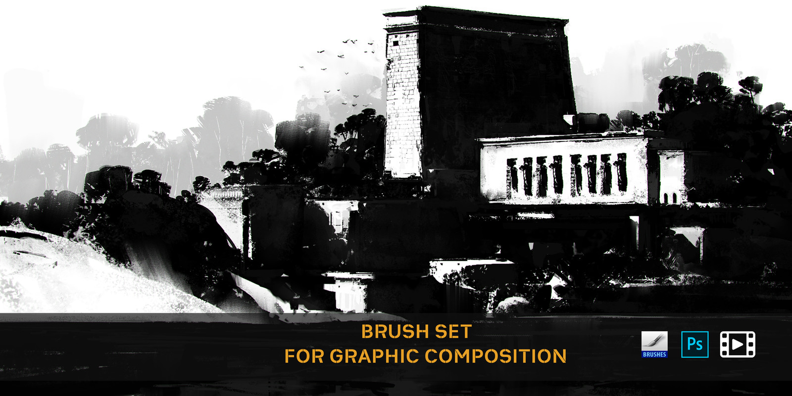 BRUSH SET FOR GRAPHIC COMPOSITION