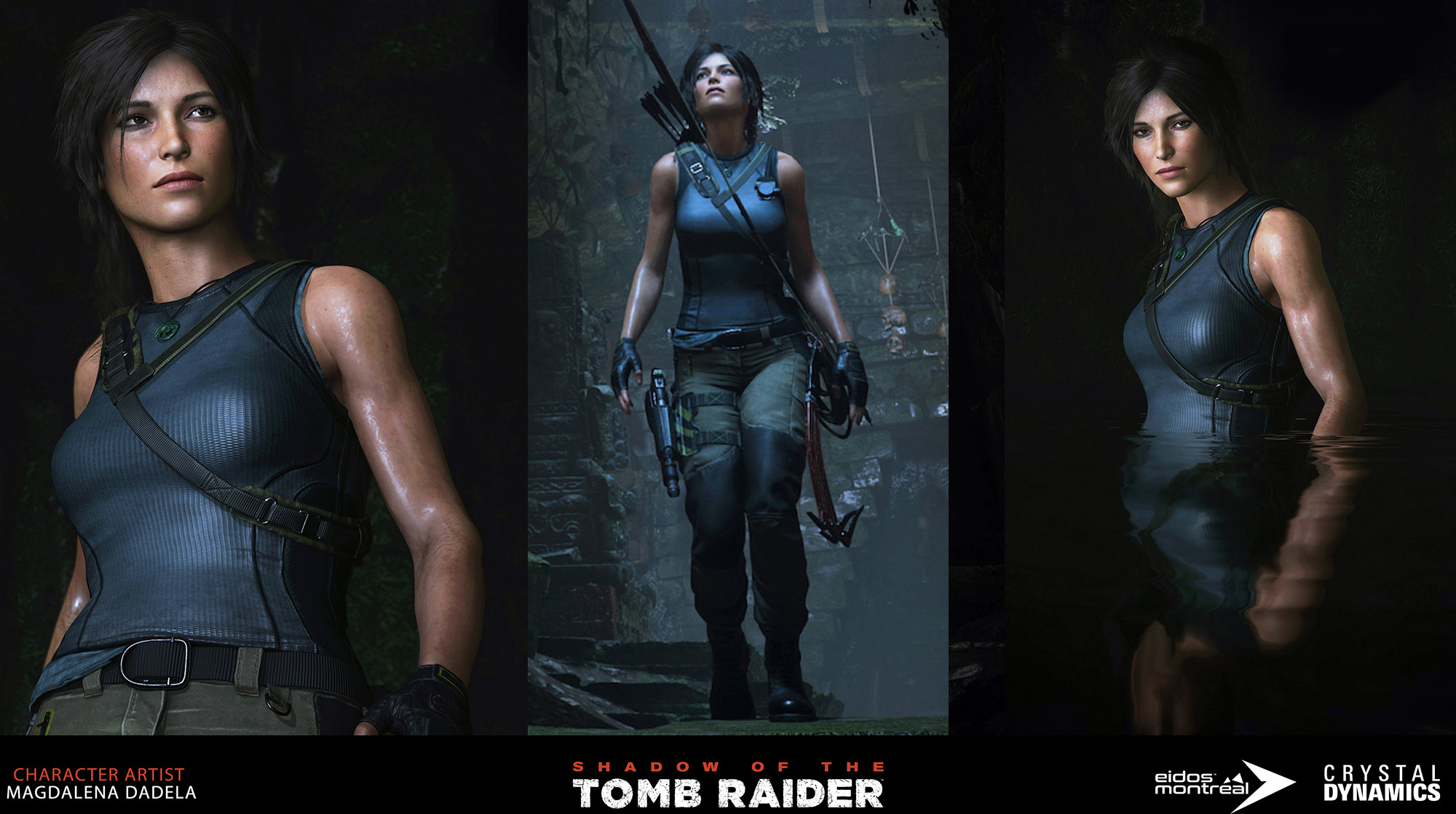 Lara Croft's tactical adventurer outfit and body - modeling and texturing [head and hair from the previous game].  Ingame screenshots.