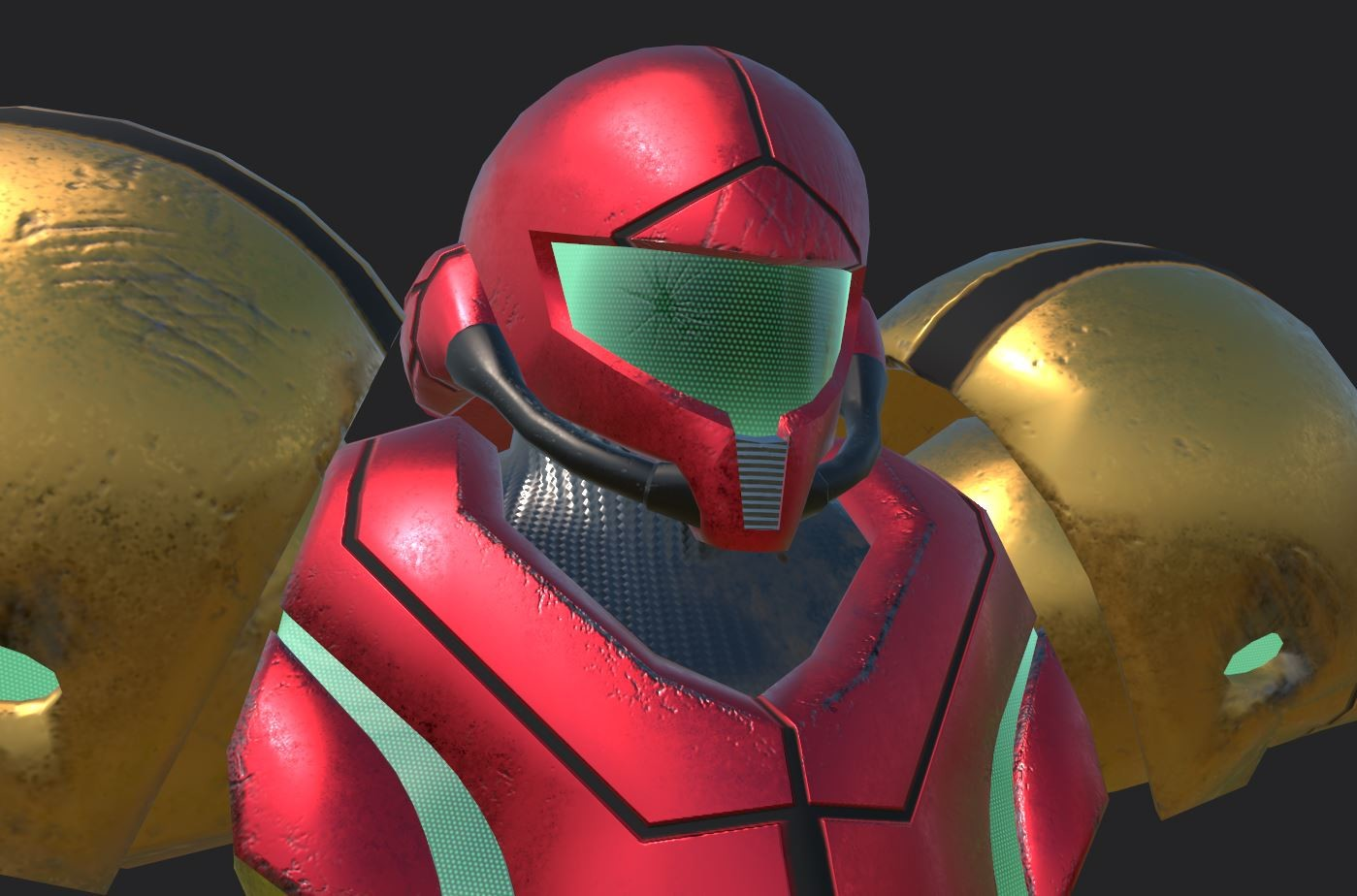 Notice the crack in her visor.  The following are screenshots from Substance Painter.