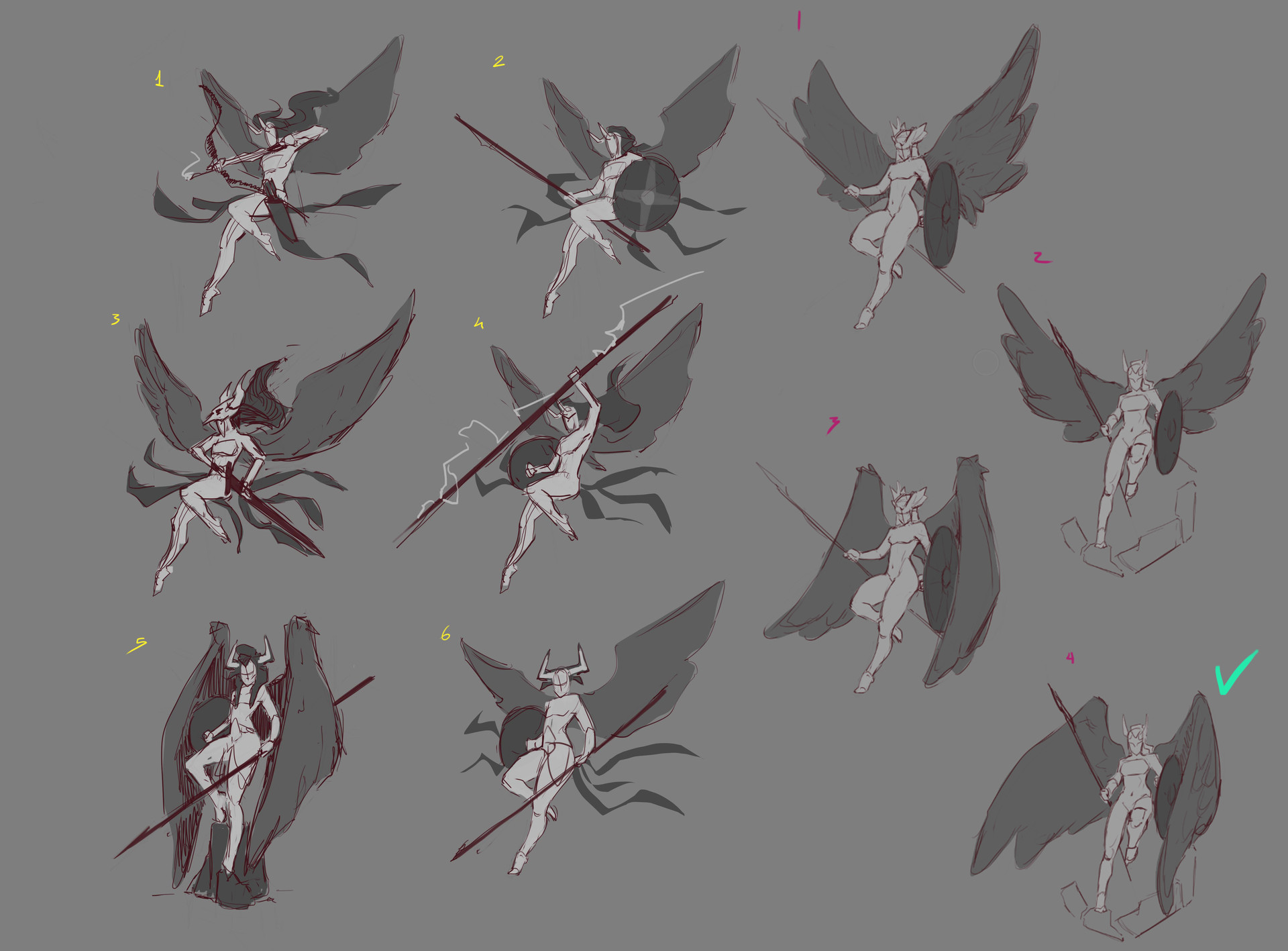 Valkary, initial sketches, finding the right pose