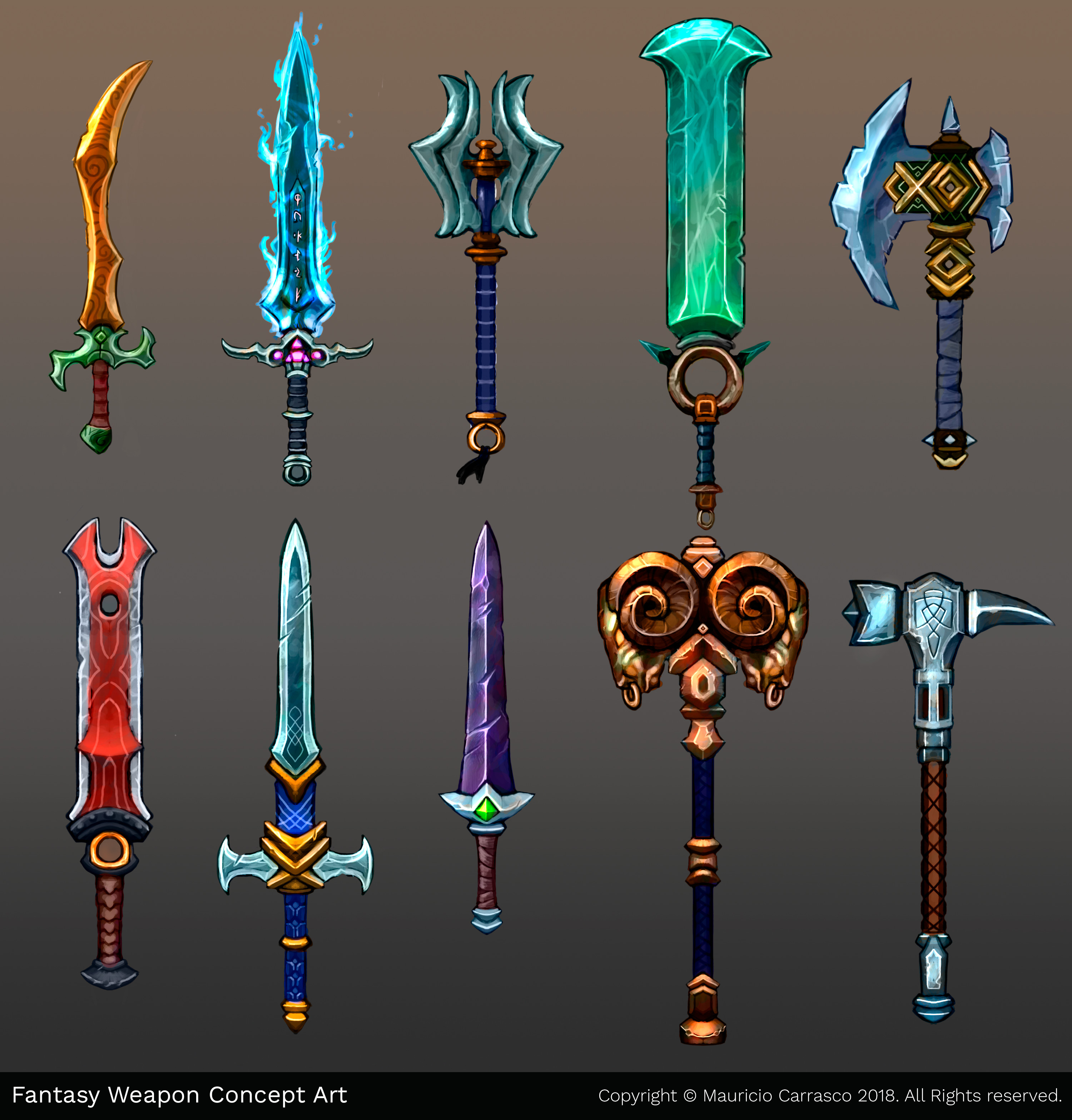 Artstation Fantasy Weapon Concept Art Mauricio Carrasco