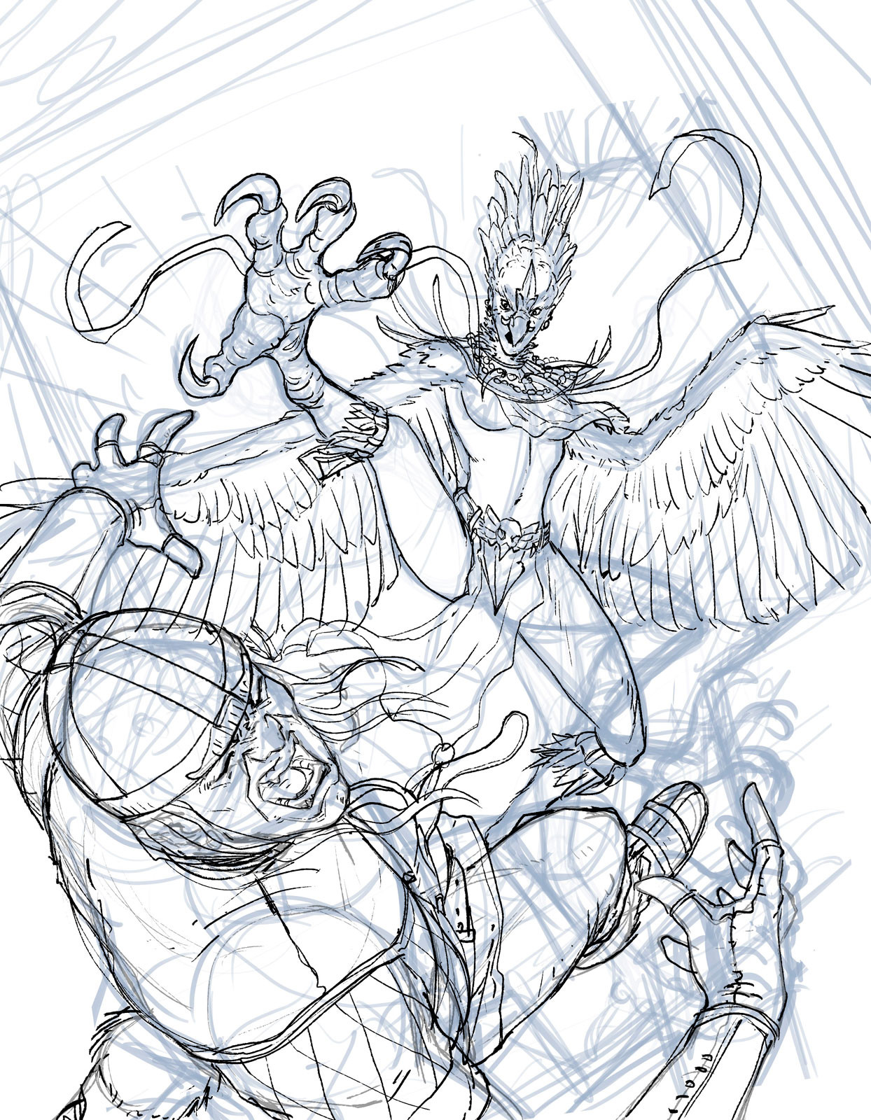Rafael teruel raging harpy by rafater sketch magic the gathering