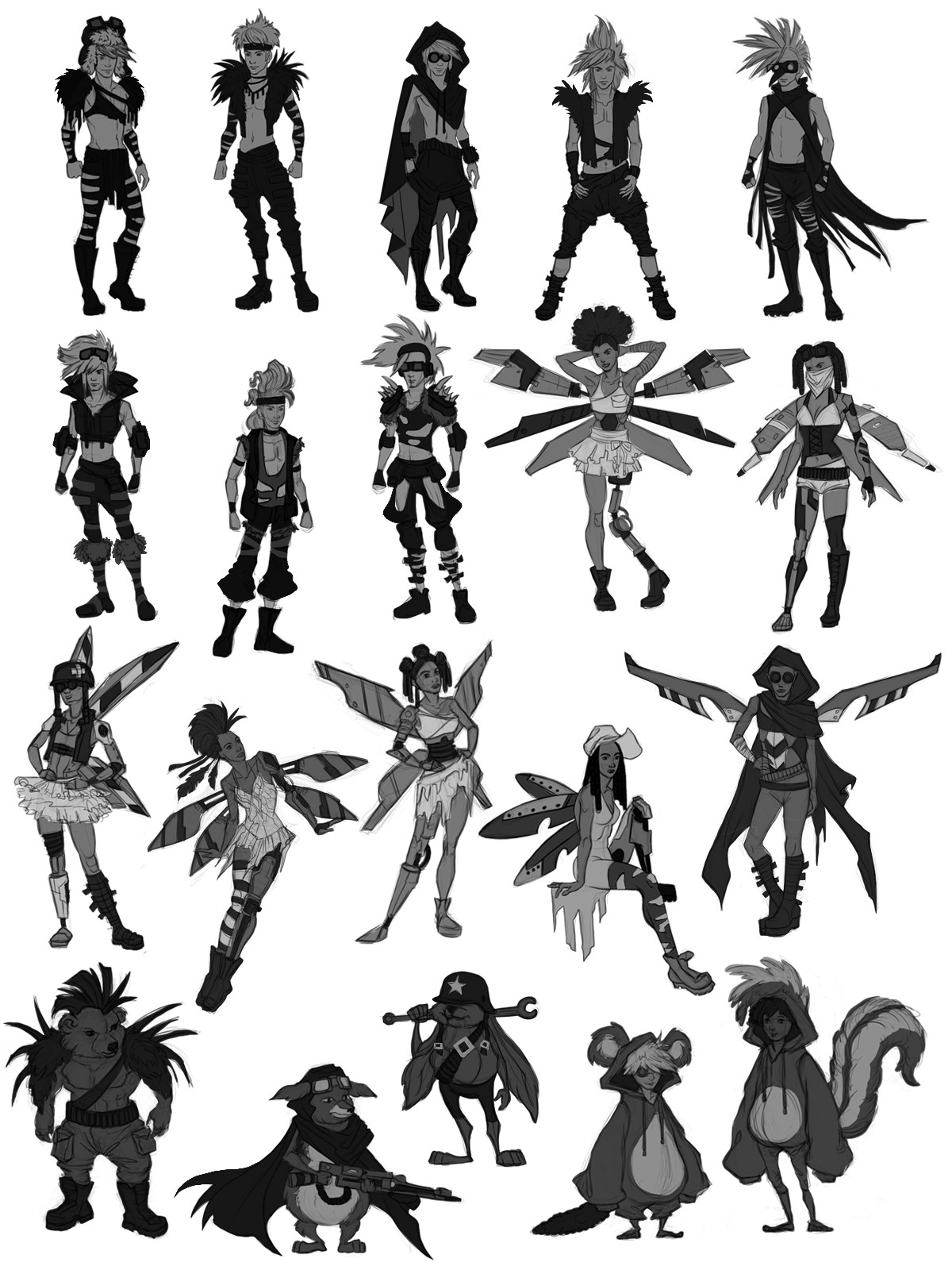 Initial thumbnails for all characters