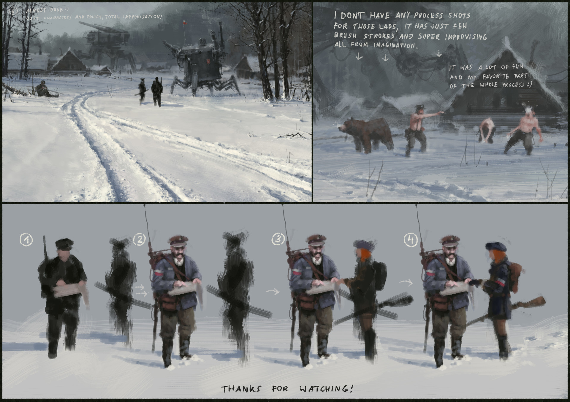 Jakub rozalski 1920 day before battle process04