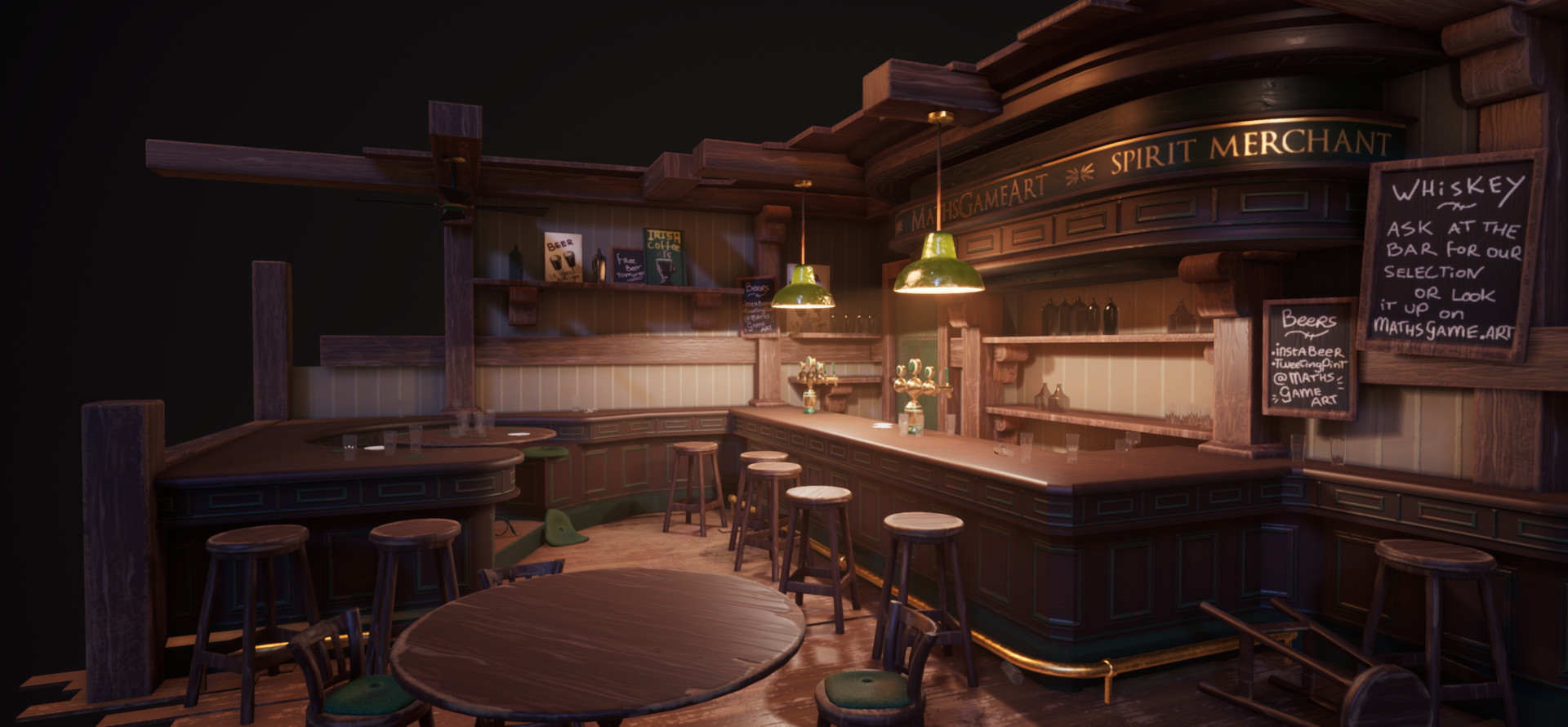Imported everyhing into UE4 to really  get the most out of the lighting. I looked at reference images of cafés and pubs at night and exaggerated some features to boost the atmosphere.