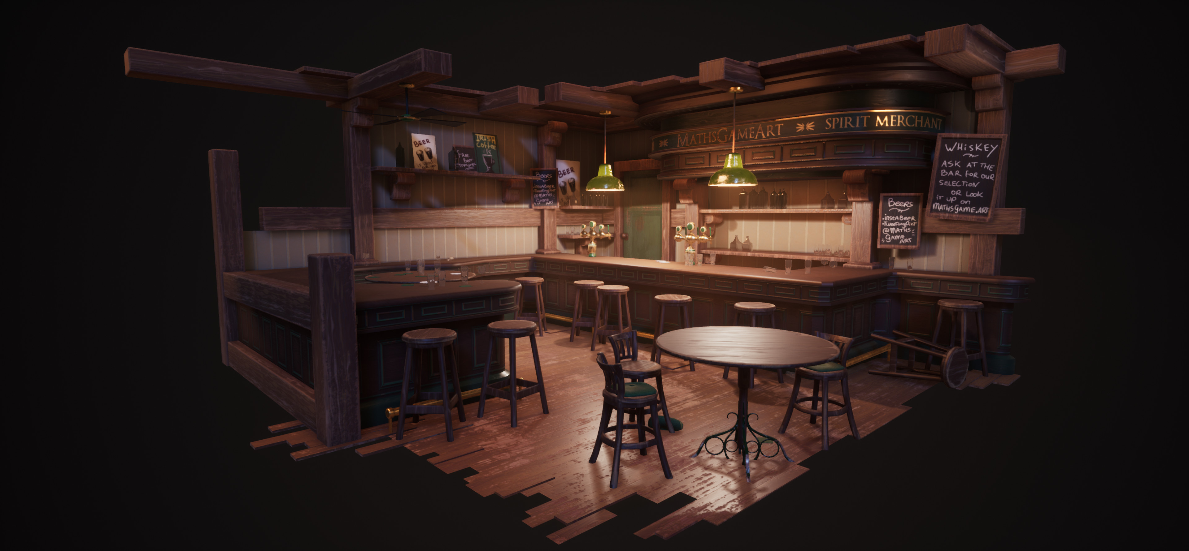 Overview of the entire composition in UE4. The volumetric lights really give that hazy/smokey pub feel and helps a lot to get the right atmosphere.
