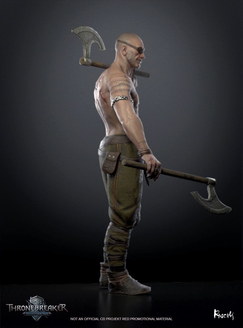 Arnjoff joined Meve's party during a skirmish with the Nilfgaardians in Angren. He sought a worthy death as recompense for his sins. His father was an alcoholic who repeatedly beat him, his mother and his brother.