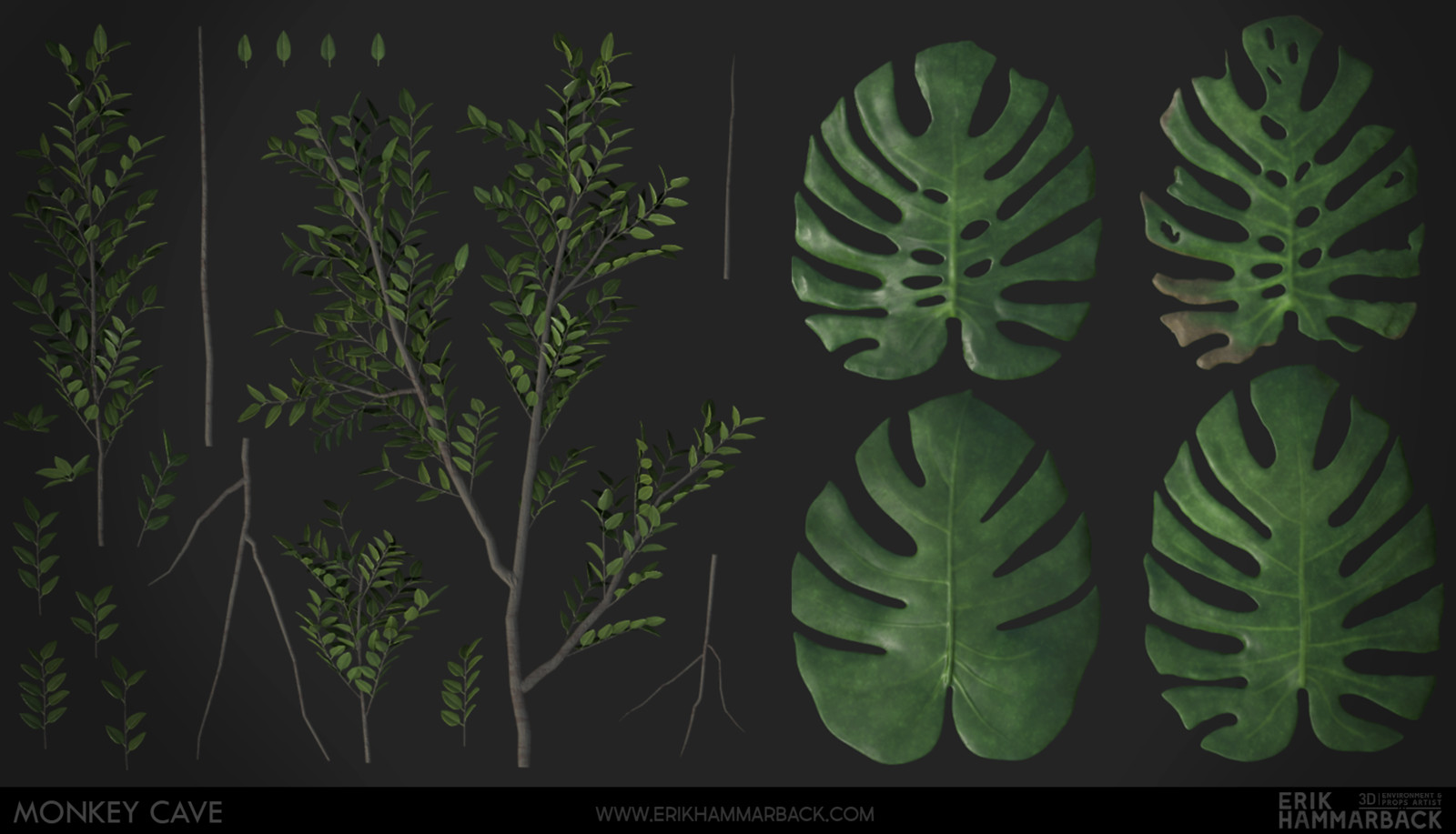 I used Substance Designer to texture the baked down foliage