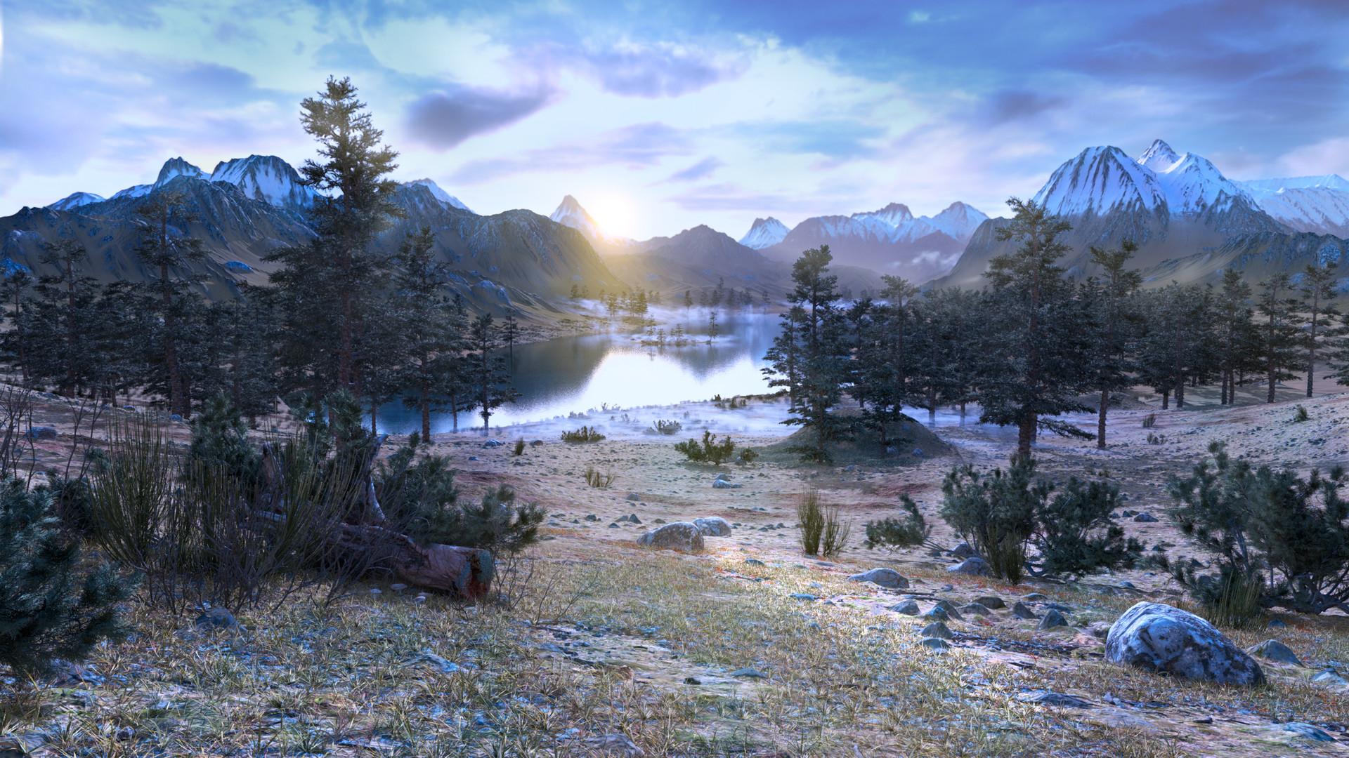 ArtStation - Lake in the mountains, Viktor Tar