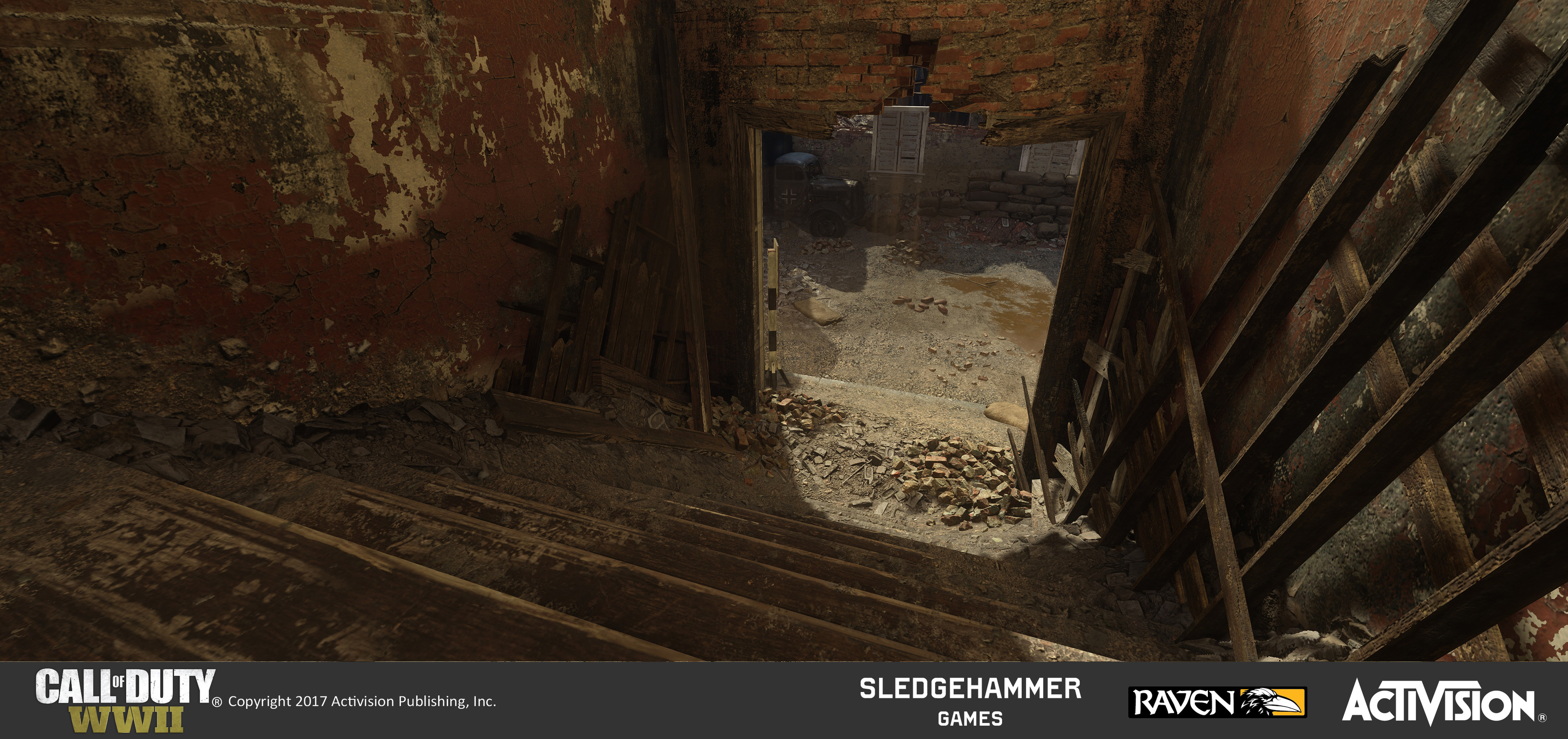 I created the geo for the stairwell, debris pile, and destroyed walls on both sides. I applied pre-existing materials as a unique treatment to this area. Our effects department added a falling dust effect under the bricks over the door frame.