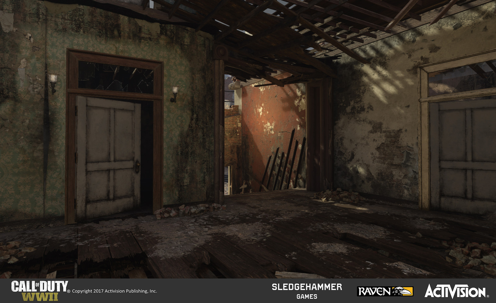 MG-Nest: This is the other side of the MG-nest room. I created the geo treatment for the floor and destroyed walls of this room using available models and decals, laying detail over a previously designed basic structure.