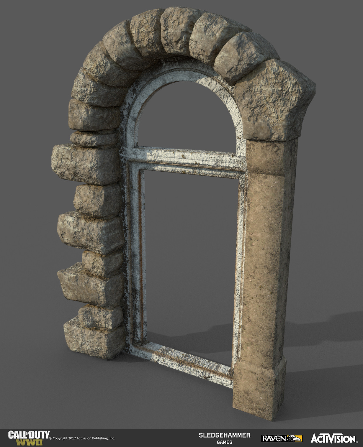 This is one of the modular window models I made for the train station. I created it in 3DSMax and I created the materials for it (along with a burnt variation) in Substance Painter. This image was rendered in Substance Painter.