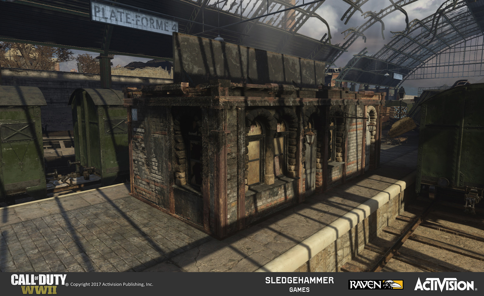 This is the reverse side of the ticket booth created for the train station. I only created one ticket building but made these two sides of it damaged/burnt to allow for versatility in placement. There is clean ground because it is outside play-space.