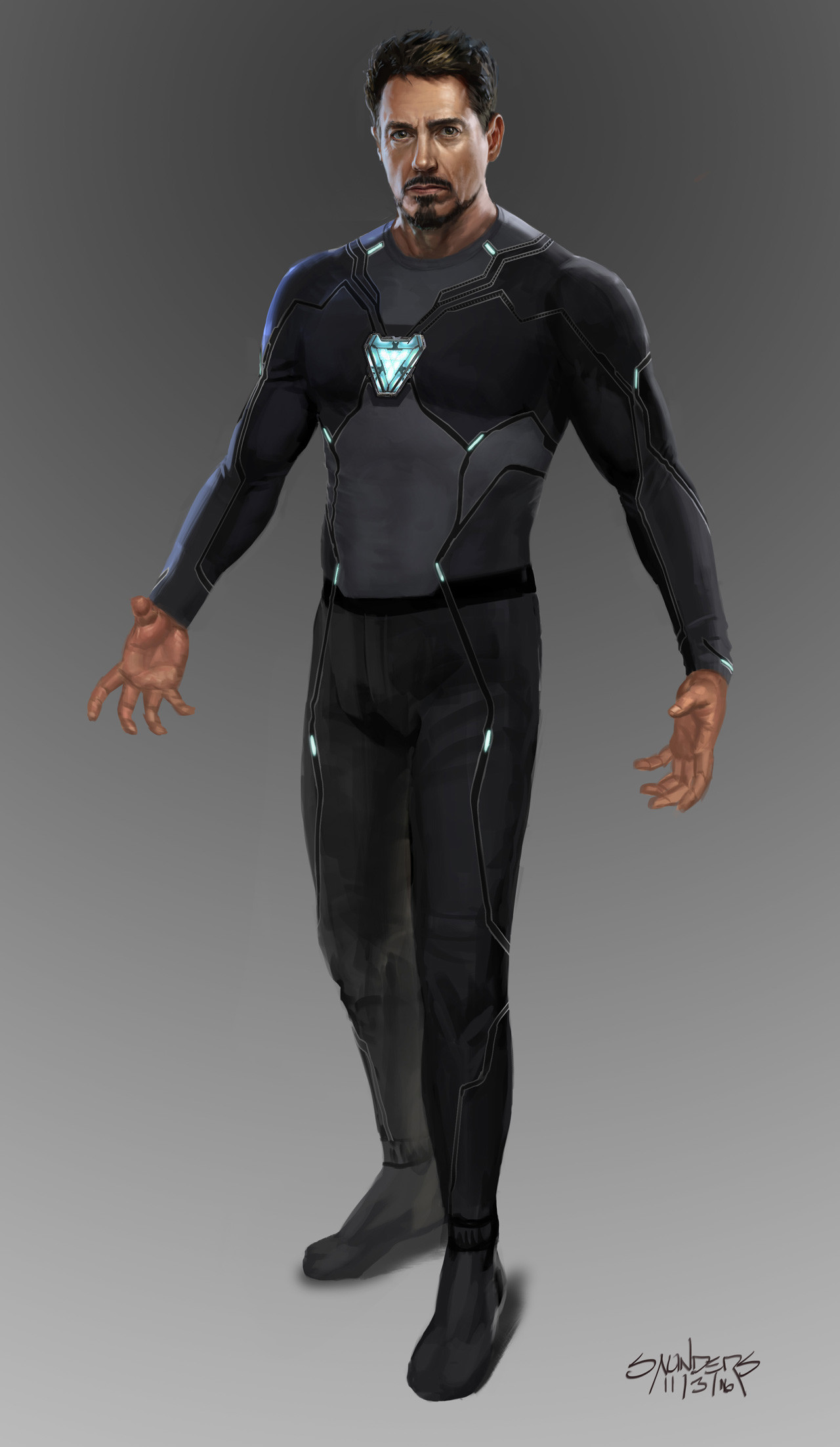 Stage one: Original undersuit (design by Josh Nizzi.) The nanotech was intended to flow out from the main RT in the chest as well as the satellite arc reactors along the body.