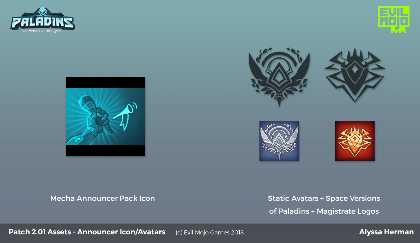 """Static avatars, announcer pack icon, and """"space"""" versions of existing logos for the game"""