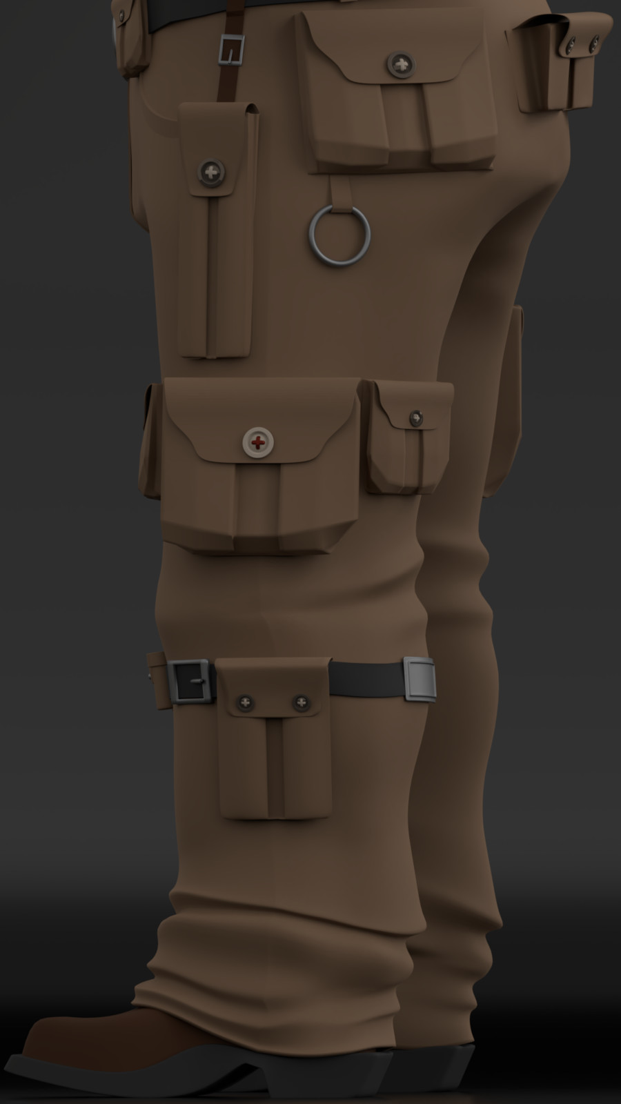 Detail of Edgar's pants. His character is known for having many pockets, which hold everything needed during an adventure.