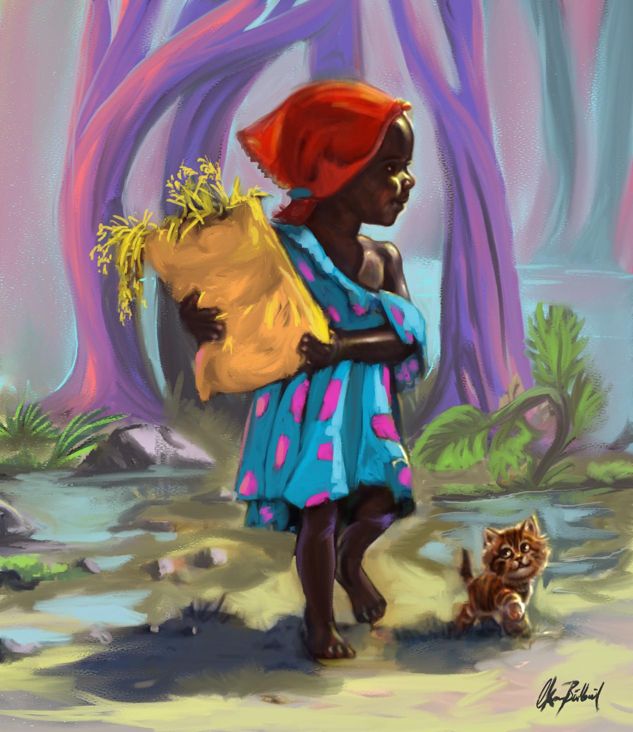 Okan bulbul girl with a red bandana 04