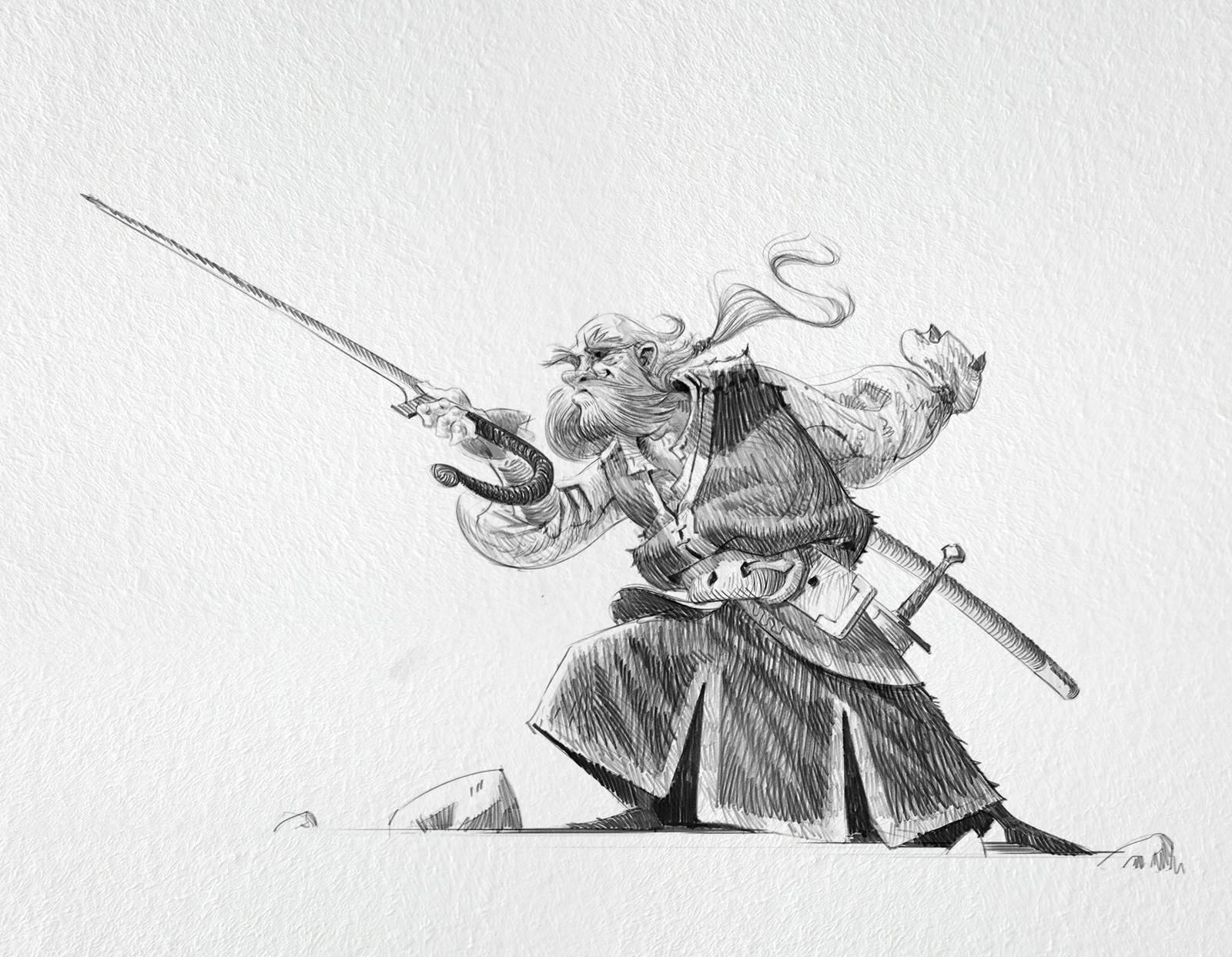 Bobadour, headmaster of the school and legendary swordsman