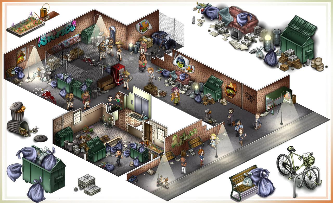 - Mise en scène d'une scène de crime pour un jeu d'enquête - Concept et réalisation d'après le document de level design  - Création de personnages
