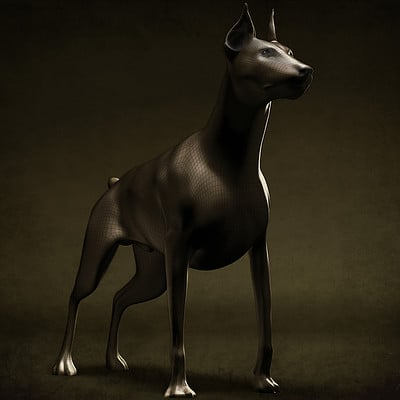 Vladislav georgiev doberman 3d digital sculpture front