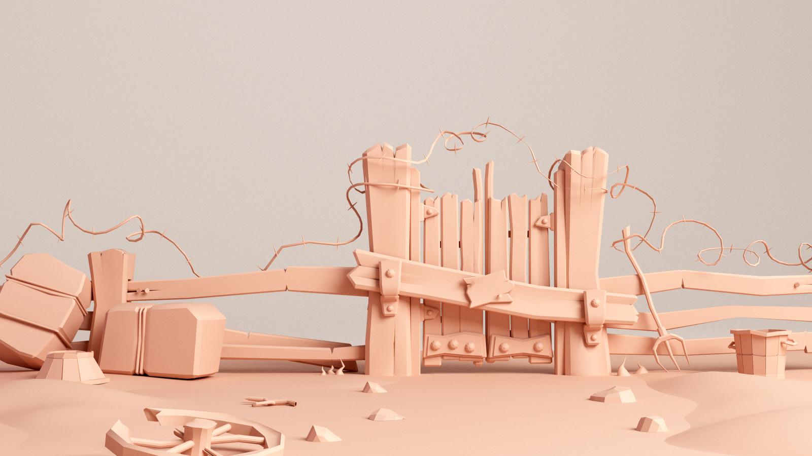 Wood fence, 3D model