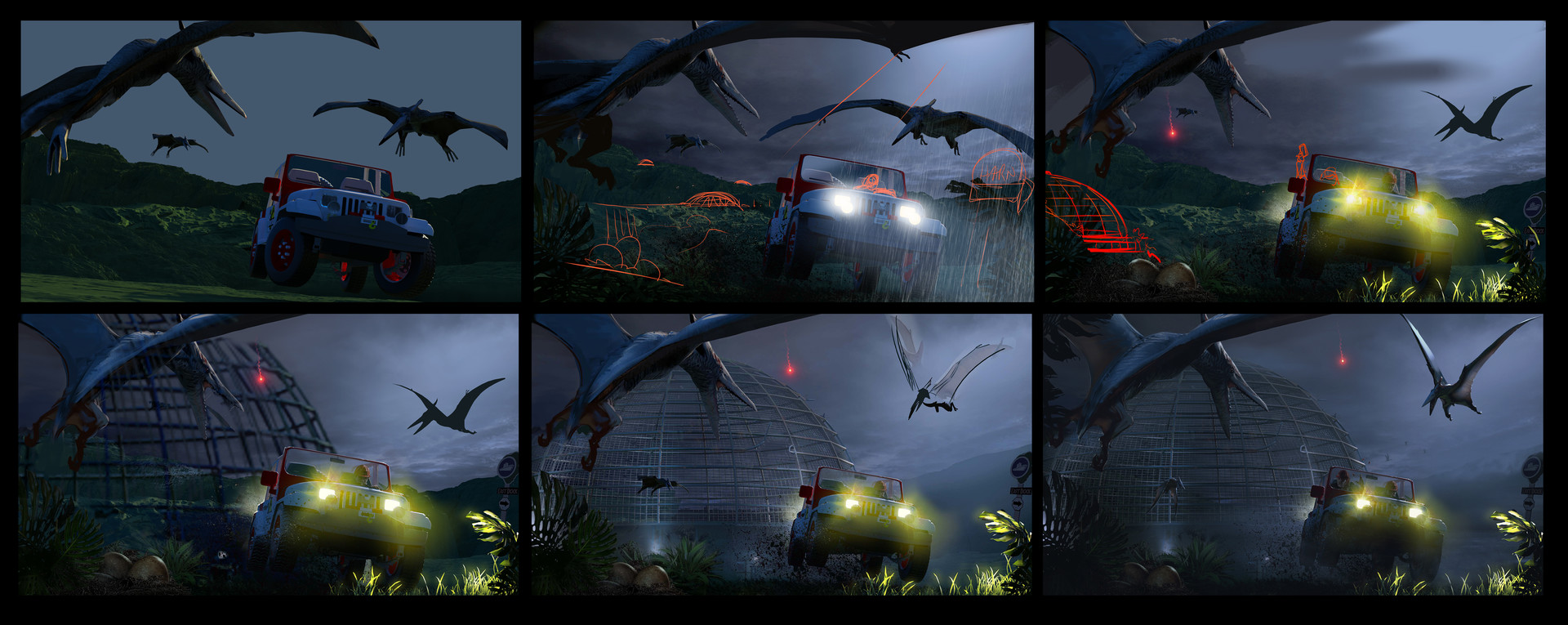 Process and assets. this was a lot of fun. I found the jeep in google warehouse and the pterodactyl is a free model from turbosquid. I modeled the dome and the terrains.