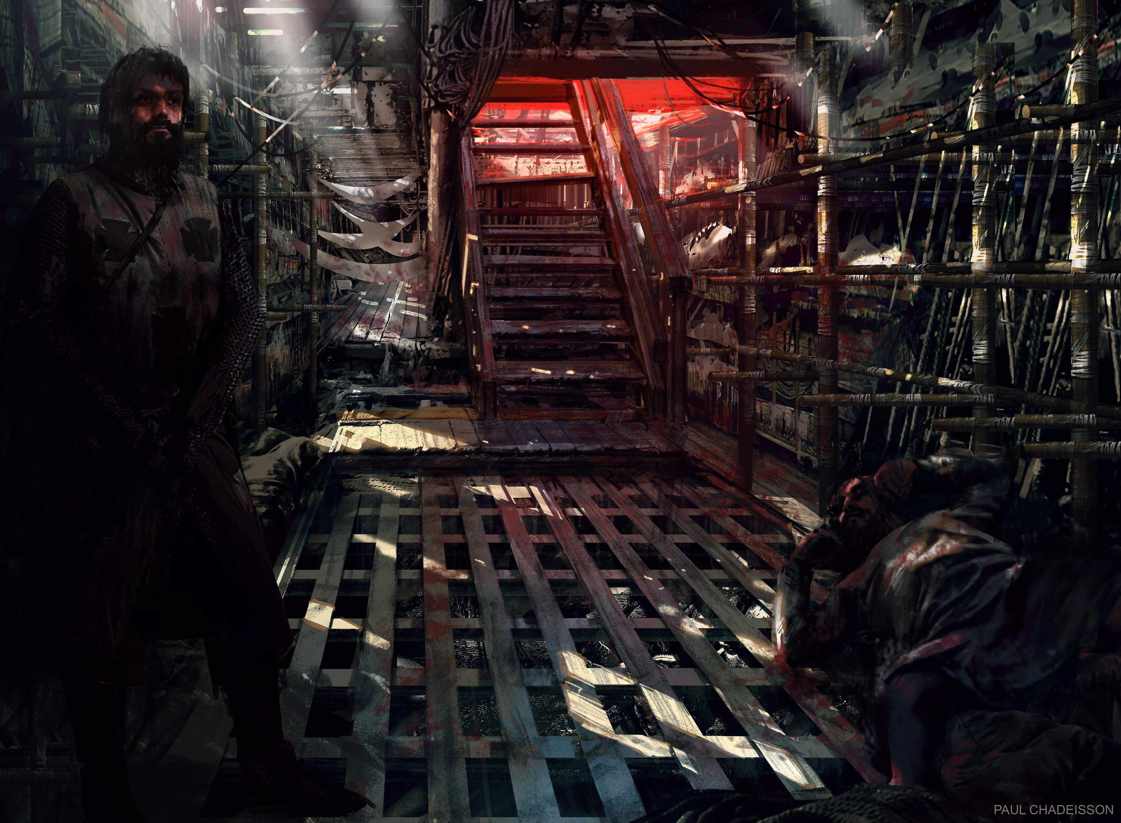 Interior view of the boat, i was based on a sketch by Jean-Vincent, so the team can build the set.