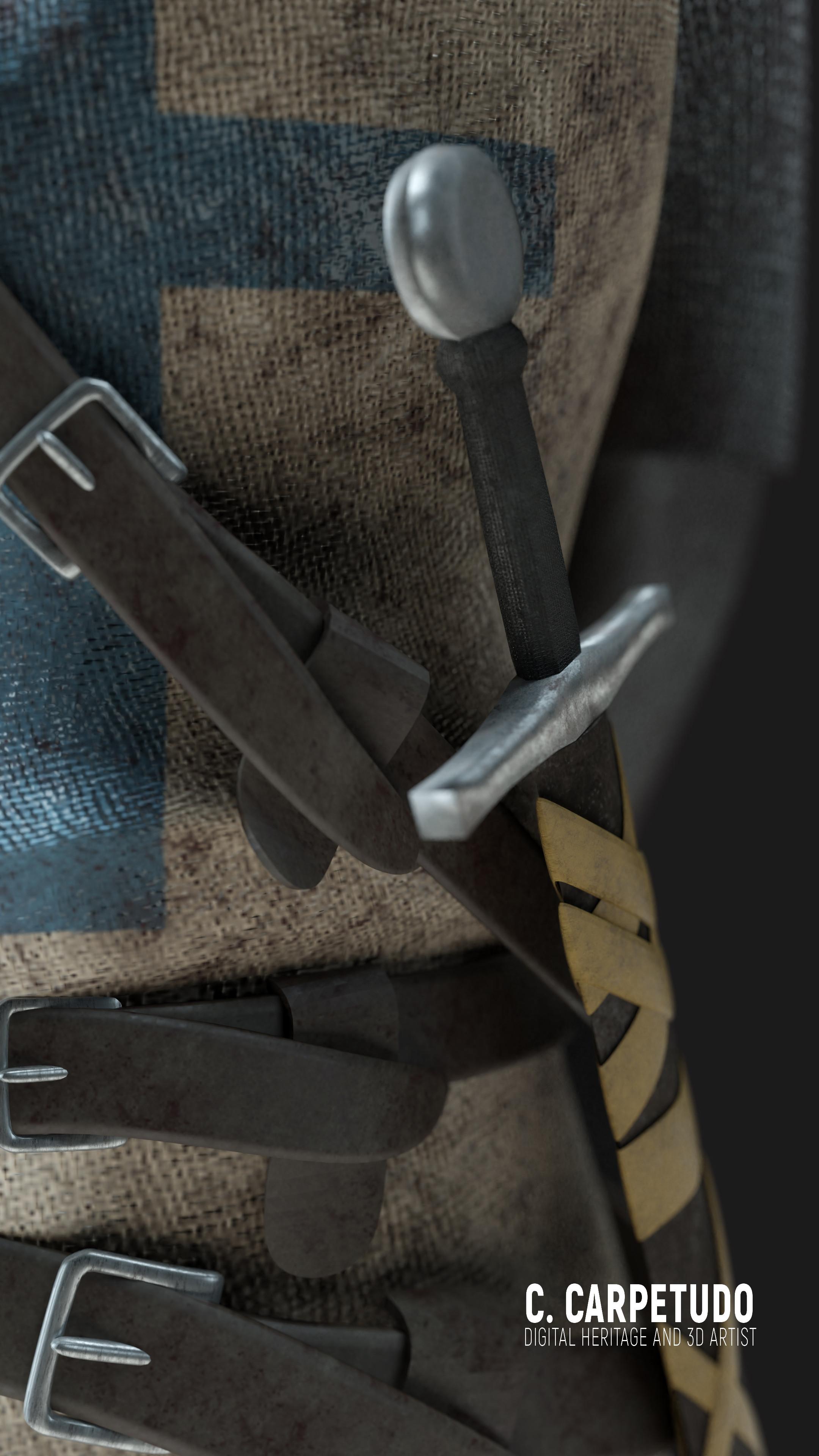 Detalhe na espada e nos cintos/Detail on the sword and belts.
