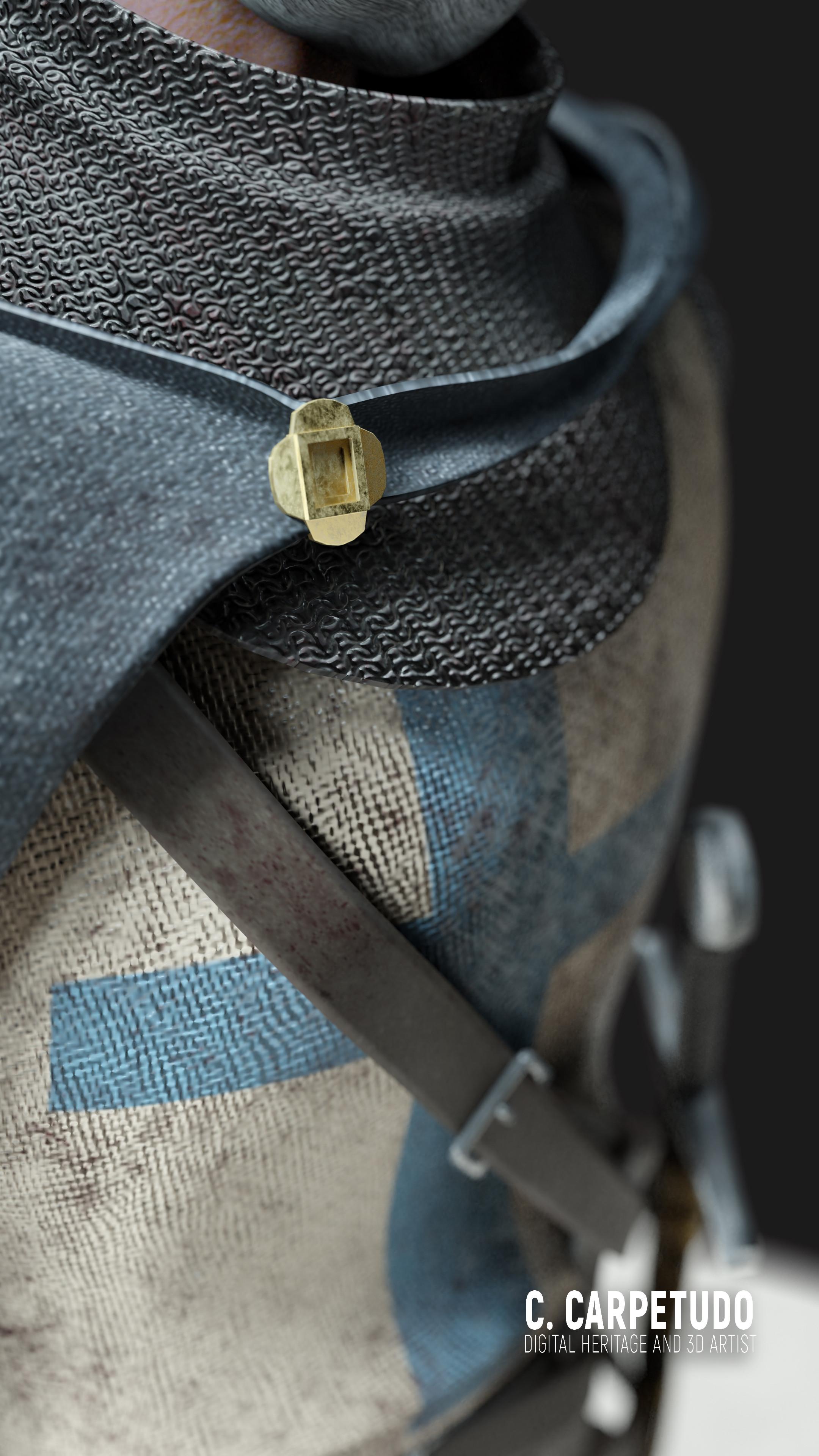 Detalhe na capa e túnica/Detail on the cape and tunic.