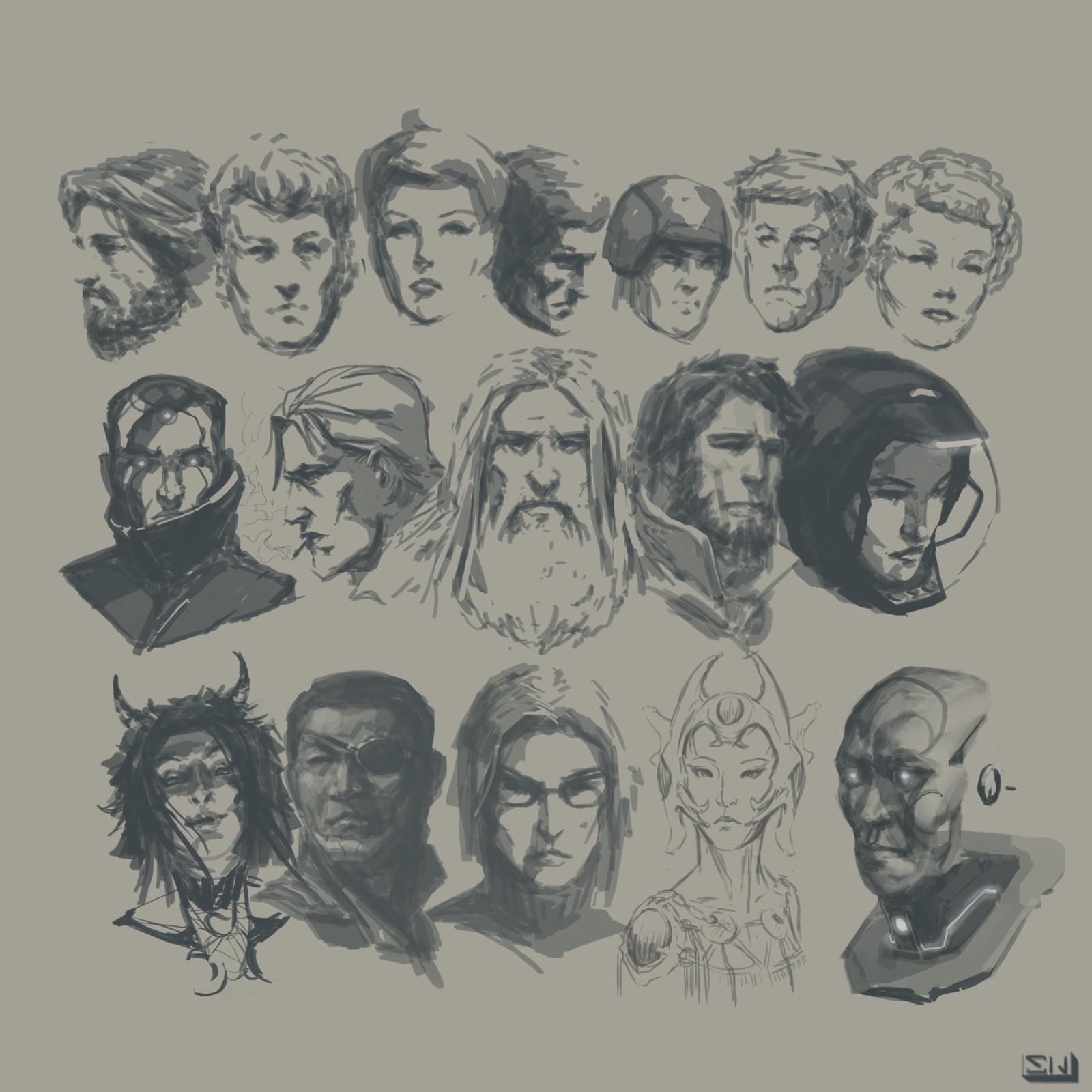 Character Head studies.