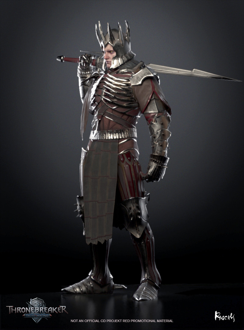 Eredin appears in Thronebreaker as an avatar in a battle. He actually occupies little screen space and thus his budget is only about 8K polygons. We compensate for this fact with PBR materials and carefully distributed shapes. How do you like him?
