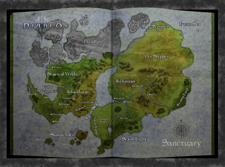 Fan map of Sanctuary from Diablo video Game