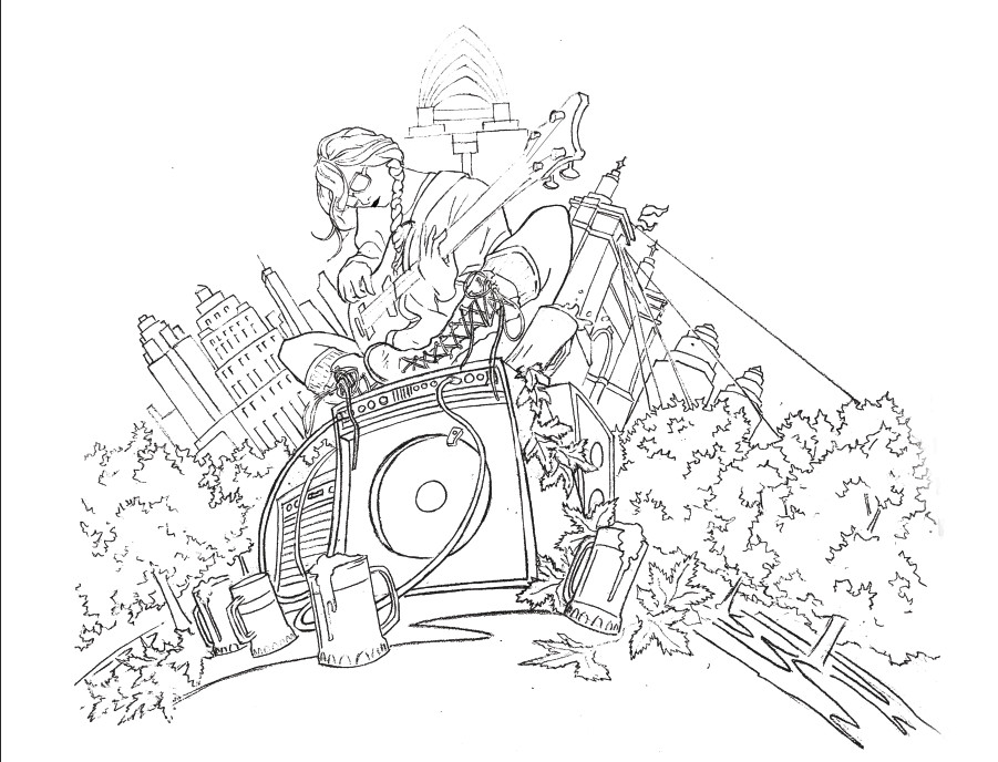 Line work from the pencil sketch after boosting contrast and separating blacks from whites.