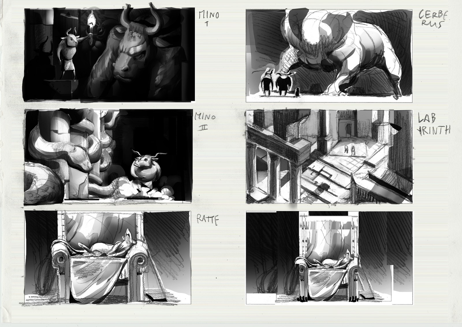 Some sketches of illustrations I created during the development.