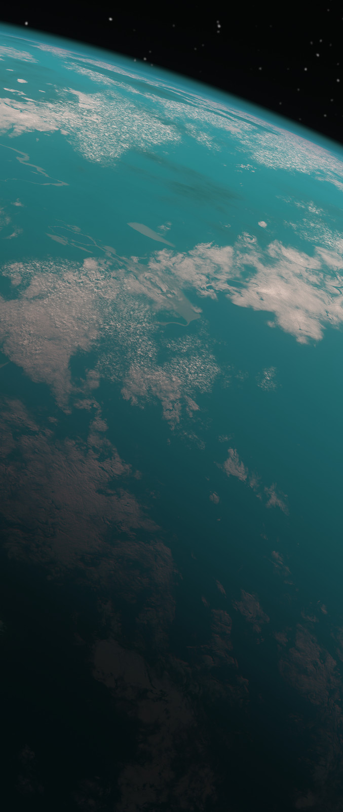 For such a large poster, I needed to render the planet at a very high resolution. This image shows a small section of detail at the native resolution.