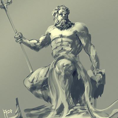 Benedick bana statue god poseidon painting coloring2 lores