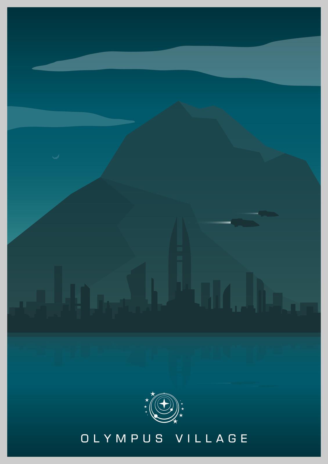Elite Dangerous - Fan-made City Poster Design: Olympus Mons