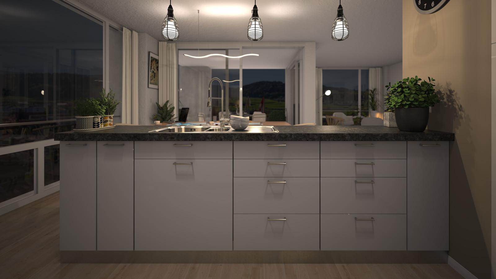 SketchUp + Thea Render Apartment model 03 v2019-Scene 40 Night V2 HD3000 x 5333 PrestoAO 1024 spx 55m15s