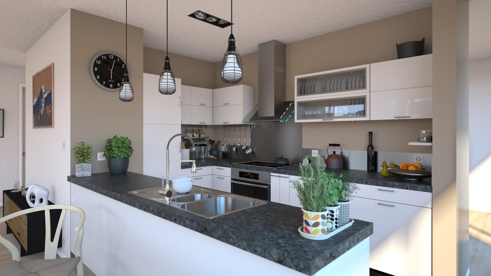 SketchUp + Thea Render Apartment model 03 v2019-Scene 28 Day V2 HD3000 x 5333 PrestoAO 1024 spx 52m38s