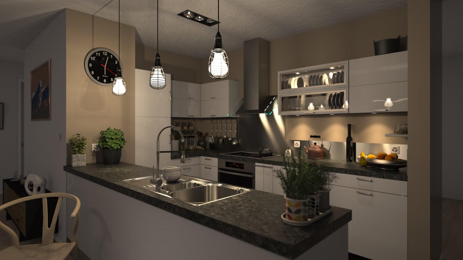 SketchUp + Thea Render Apartment model 03 v2019-Scene 28 NIght V2 HD3000 x 5333 PrestoAO 1024 spx 58m40s
